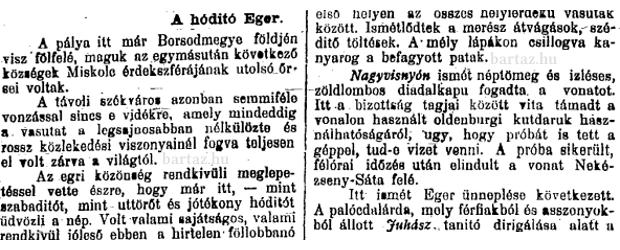Az Egri Újság korabeli cikke